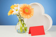 Love - Flowers, a Heart and a Card Stock Photography