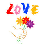 Love Flowers Means Floral Adoration And Loving. Love Flowers Indicating Fondness Bloom And Dating royalty free illustration