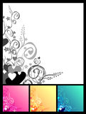 Love & flowers & scrolls background Stock Photos