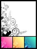 Love & flowers & scrolls background