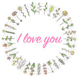 Love flowers sweets frame in a circle sketch. Vector graphics Royalty Free Stock Image