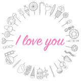 Love flowers sweets frame in a circle sketch Royalty Free Stock Images