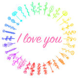 Love flowers sweets frame in a circle. Sketch vector graphics color coloring love Stock Photography