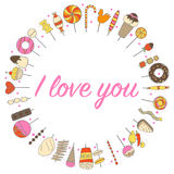 Love flowers sweets frame in a circle Stock Photography