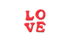 LOVE in foam rubber letters Royalty Free Stock Images