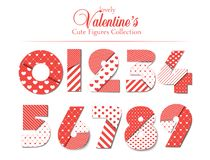 Love font. Number set with hearts. Romantic and love font and typography for Happy Valentines Day. Template for wedding stock illustration