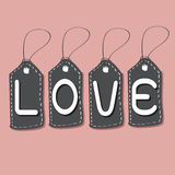 Love Font on Price Tag for Happy Valentines day Royalty Free Stock Photos