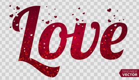 LOVE, Font Type, Happy Valentines day card. Transparent vector vector illustration