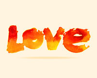 Love font type with watercolor style. Royalty Free Stock Images