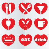 Love food icons Royalty Free Stock Images