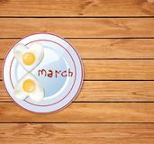 Love food idea for 8 march breakfast. Happy women`s day vector template with number eight shaped heart omelette on plate with ketchup 8 march lettering on rustic royalty free illustration