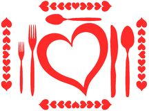 Love for food illustration in red isolated Stock Photography