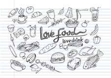 Love food Love drink concept  doodle element. Love food Love drink concept on lined notebook paper,Poster with hand drawn food doodles Royalty Free Stock Photography