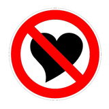 Love forbidden. Black shape of heart into forbidden sign in white background Stock Photos
