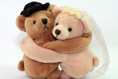 Love forever. Two toy teddies hugging each other Royalty Free Stock Images