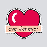 Love Forever. Big Red Heart. Cut it out. Patch Royalty Free Stock Images