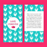 Love forever blue flyer brochure with white swans Stock Photography