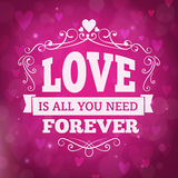 Love forever greeting card with hearts and lights on background Stock Images