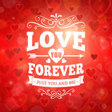 Love forever greeting card with hearts and lights Stock Image