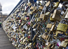 Love forever - love padlock on brigdge in Paris Royalty Free Stock Photos