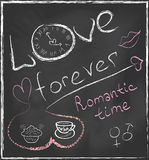 Love forever and Romantic time concept hand drawn. On blackboard with abstract clock and set with hearts, cofee cup, cake, gender symbols and lips in vector stock illustration