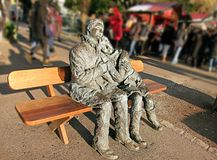 In Love Forever. Statue The Lovers Les Amoureux, on a park. Stock Photography