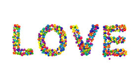 LOVE formed from colorful balls over white Stock Photos