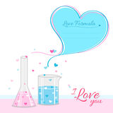 Love formula background banner with test tubes Stock Image