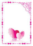 Love frame. The pink hearts symbolising love between the man and the woman Royalty Free Stock Images