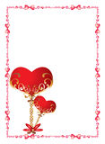 Love frame. The red hearts symbolising love between the man and the woman Stock Image