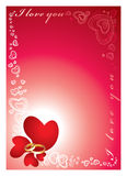 Love frame. The red hearts symbolising love between the man and the woman Stock Images