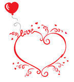 Love frame. The frame in the shape of a heart with ribbons and balloons Stock Photos