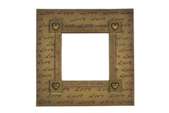 Love frame. Romantic gold frame isolated on white with path stock photos