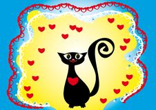 Love frame with cartoon cat Royalty Free Stock Image