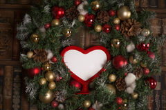 Love frame in Christmas wreath Stock Photography