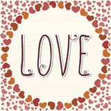 Love frame with hearts. Valentine's Day Royalty Free Stock Image