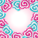 Love frame with lollipop hearts forming a heart Royalty Free Stock Photo