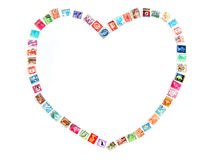 Love frame with postal stamps stock image