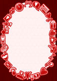 Love Frame. Vector frame on love theme on wooden background Stock Photography