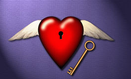 Love, freedom, Key to Heart Stock Photos