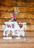 We Love Freo Sign: Worn on Wood Royalty Free Stock Photos