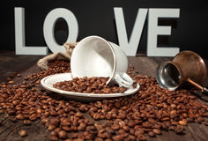 Love fresh black coffee-coffee beans royalty free stock images
