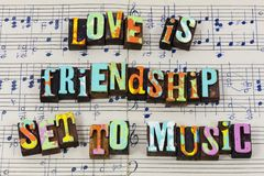 Love friendship friends music life enjoy relationship romance typography font royalty free stock photography