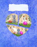 Love and friendship greeting card. Watercolor illustration/collage of a short story with a dog and a cat Stock Photography