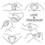 Hand Gestures Vector Illustration. Love and Friendship hand gesture in black outline Stock Photography