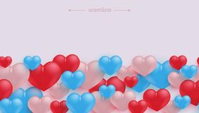 Love and friendship seamless border pattern with colorful heart shapes. Love and friendship seamless border pattern with colorful heart shapes in realistic 3d stock illustration