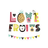 Love Fruits text with cute hand drawn summer fruit. Banana, apple, watermelon,pineapple, strawberry isolated. Kids t-shirt print. Royalty Free Stock Photo