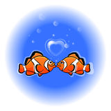Love funny fish. With heart Royalty Free Stock Images