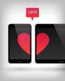 Love on Gadget. Stock Photo