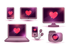 Love gadgets vector icons set Stock Images